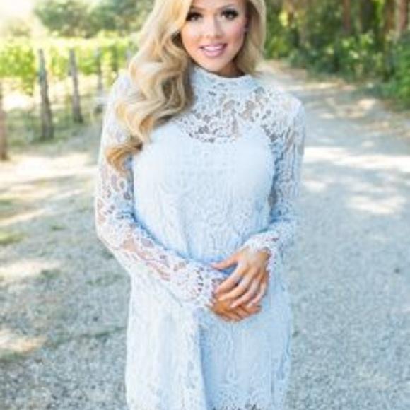 Baby Blue Lace Long Sleeve Dress